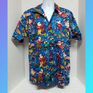 Max Boxxer Hawaiian Santa Shirt Size L